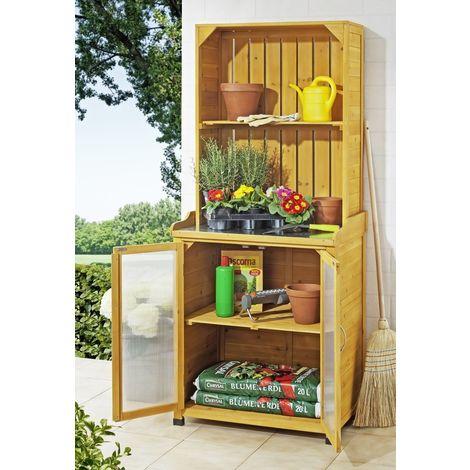Garden cabinet with shelf attachment
