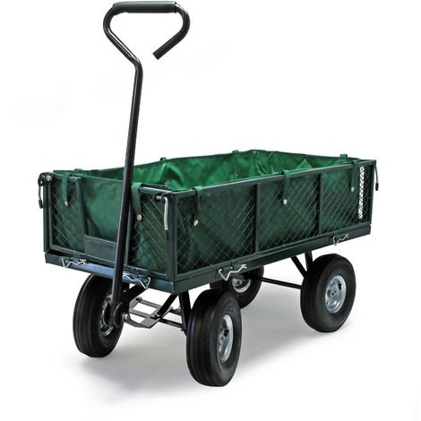 Garden cart 660lbs (300kg) with removable cover and table grid utility wagon crate trailer