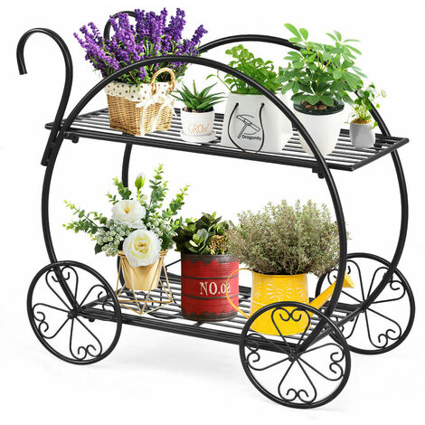 Garden Cart Flower Plant Stand Pot Holder Corner Metal Ladder Home Decoration