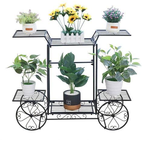 Garden Cart Stand Pot Plant Stand Garden Decor Flower Rack Wrought Iron 4 Wheeler