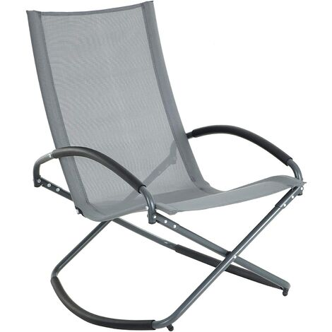 Garden Chair, Rocking Chair, Iron Structure, Breathable, Comfortable Synthetic Fabric, Max. Capacity 150 kg, Black/Grey