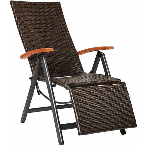 Garden chair with footrest rattan aluminium - outdoor seating, garden seating, rattan chair - brown
