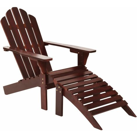 Garden Chair with Ottoman Wood Brown - Brown