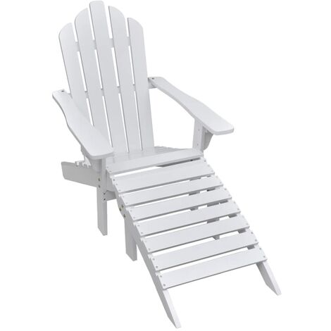 Garden Chair with Ottoman Wood White