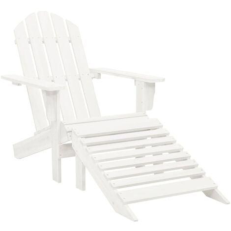 Garden Chair with Ottoman Wood White - White
