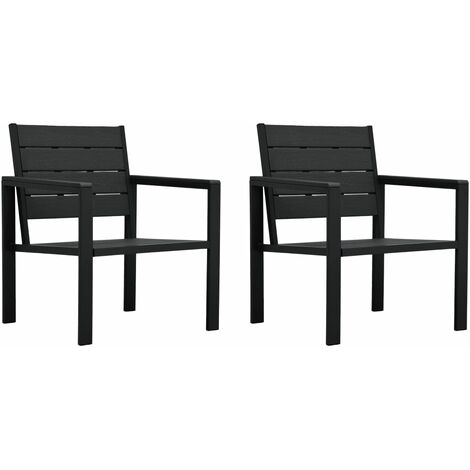 Garden Chairs 2 pcs Black HDPE Wood Look