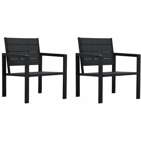 Garden Chairs 2 pcs Black HDPE Wood Look