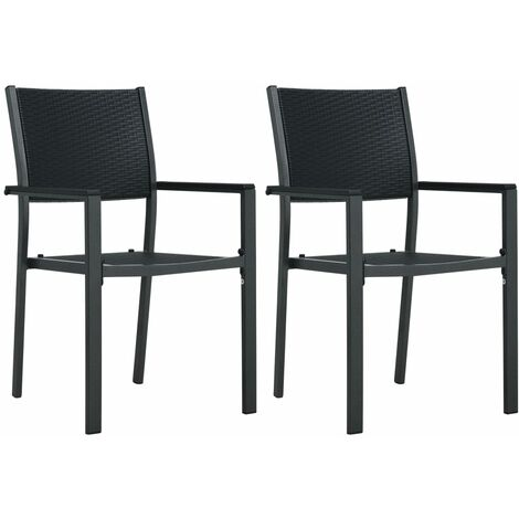 Garden Chairs 2 pcs Black Plastic Rattan Look - Black