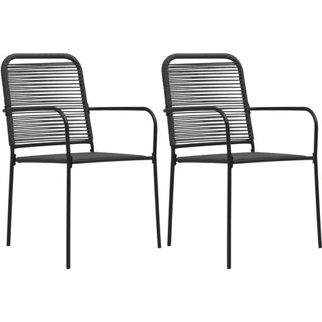 Garden Chairs 2 pcs Cotton Rope and Steel Black