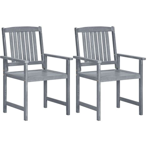 Garden Chairs 2 pcs Grey Solid Acacia Wood