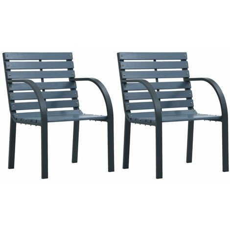 Garden Chairs 2 pcs Grey Wood