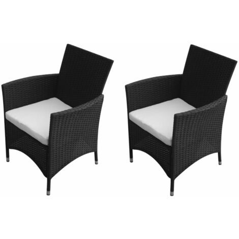 Garden Chairs 2 pcs Poly Rattan Black