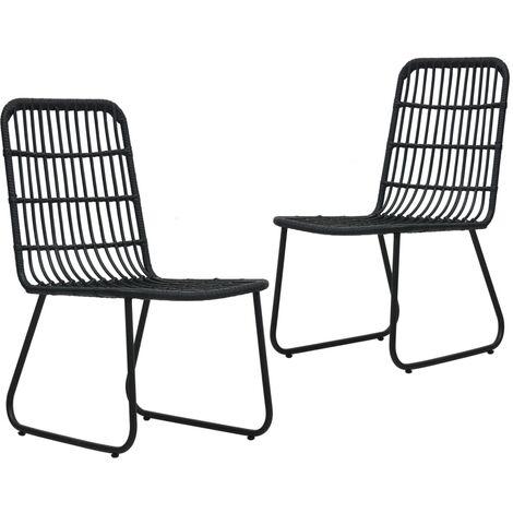 Garden Chairs 2 pcs Poly Rattan Black - Black