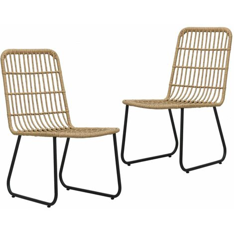 Garden Chairs 2 pcs Poly Rattan Oak