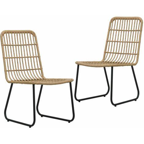 Garden Chairs 2 pcs Poly Rattan Oak - Brown