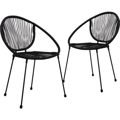 Garden Chairs 2 pcs PVC Rattan Black