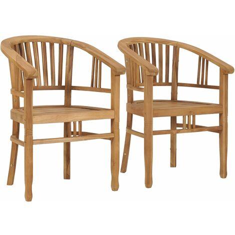 Garden Chairs 2 pcs Solid Teak Wood