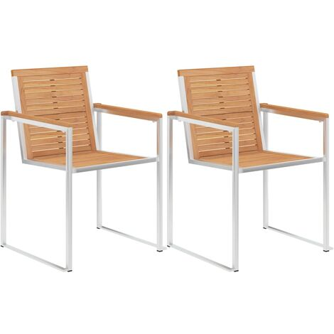 Garden Chairs 2 pcs Solid Teak Wood and Stainless Steel