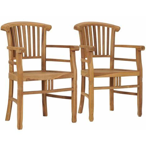 Garden Chairs 2 pcs Solid Teak Wood - Brown