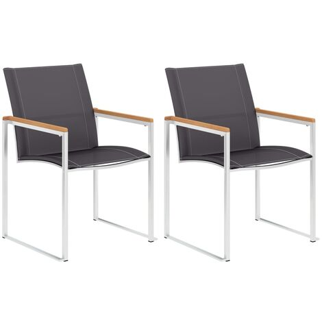 Garden Chairs 2 pcs Textilene and Stainless Steel Grey