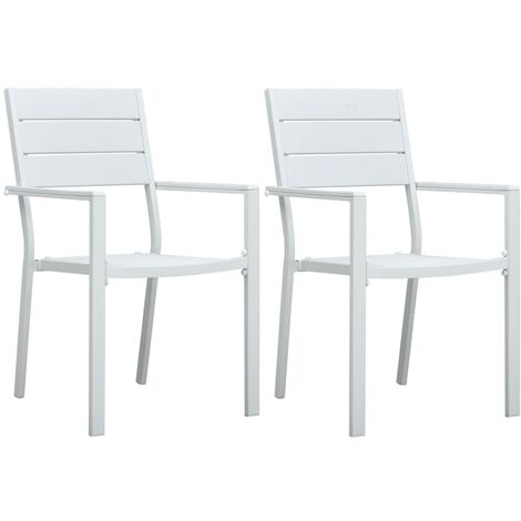 Garden Chairs 2 pcs White HDPE Wood Look