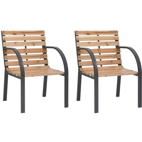 Garden Chairs 2 pcs Wood - Brown