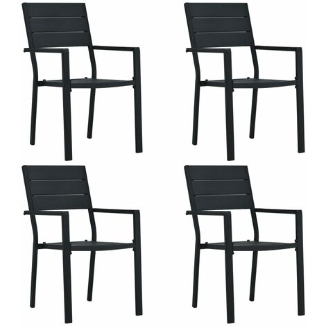 Garden Chairs 4 pcs Black HDPE Wood Look