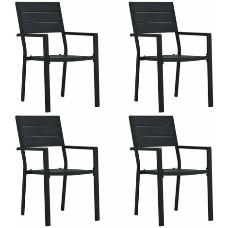 Garden Chairs 4 pcs Black HDPE Wood Look - Black