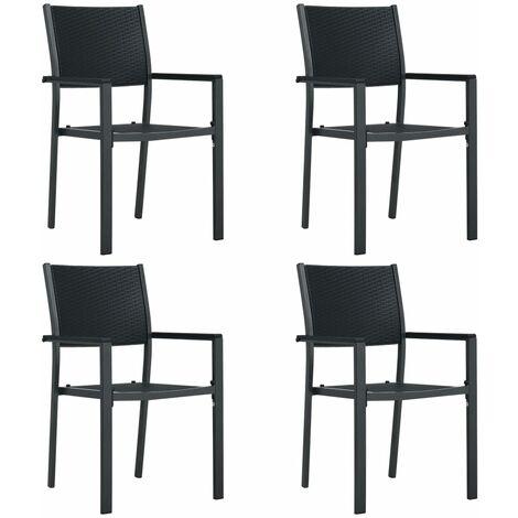 Garden Chairs 4 pcs Black Plastic Rattan Look