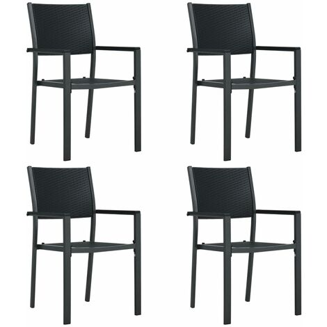 Garden Chairs 4 pcs Black Plastic Rattan Look - Black
