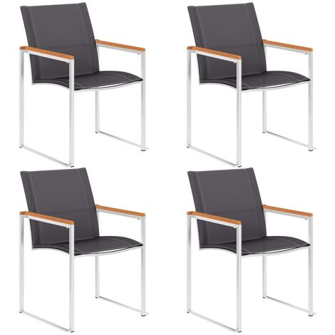 Garden Chairs 4 pcs Textilene and Stainless Steel Grey
