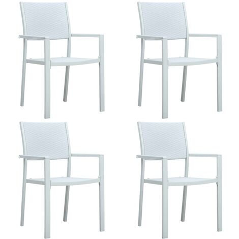 Garden Chairs 4 pcs White Plastic Rattan Look - White