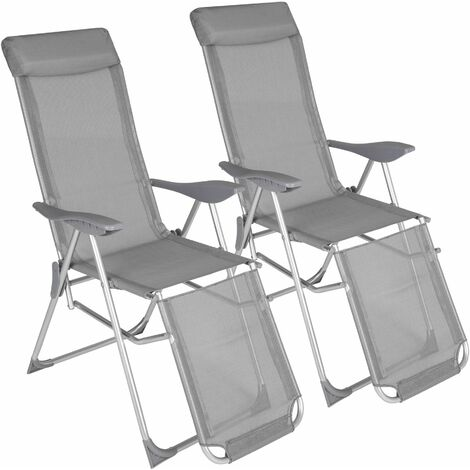 Garden chairs set of 2 Jana - reclining garden chairs, garden recliners, outdoor chairs - grey