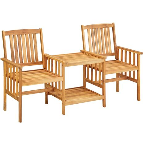 Garden Chairs with Tea Table 159x61x92 cm Solid Acacia Wood