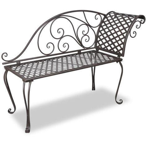 Garden Chaise Lounge 128 cm Steel Antique Brown