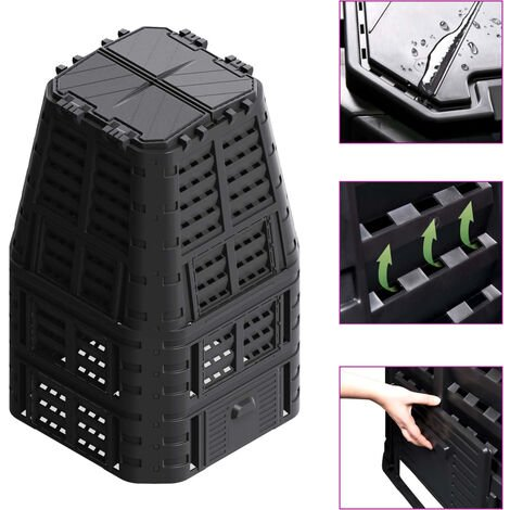 Garden Composter Black 93.3x93.3x146 cm 1000 L