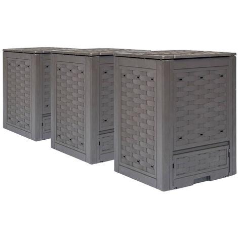 Garden Composters 3 pcs Brown 60x60x83cm 900 L