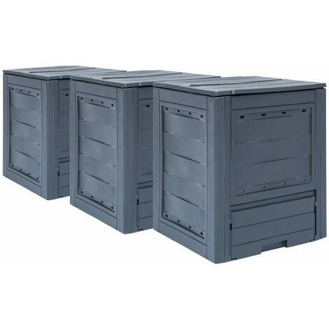 Garden Composters 3 pcs Grey 60x60x73cm 780 L