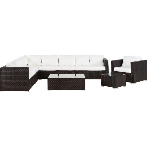"main image of ""Garden Conversation Set Beige Wicker Rattan Cushions 8 Seater XXL"""