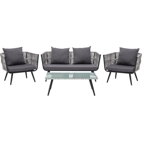 4 Seater Rattan Garden Sofa Set Grey RAGUSA