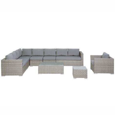 "main image of ""Garden Conversation Set Light Grey Wicker Rattan Cushions 8 Seater XXL"""