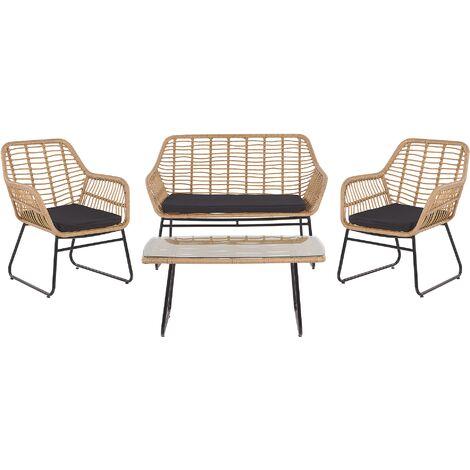 "main image of ""Garden Conversation Set Seat Pads Black 4 Seats Coffee Table PE Rattan Glass Top"""