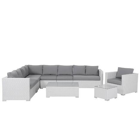 Garden Conversation Set White Wicker Rattan Cushions 8 Seater XXL