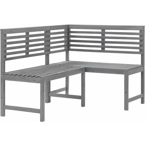 Garden Corner Bench Grey 140 cm Solid Acacia Wood