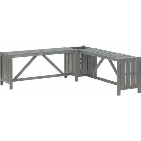 Garden Corner Bench with Planter 117cm Solid Acacia Wood Grey