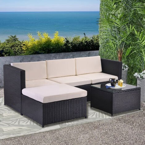 Garden Corner Sofa rattan Garden Furniture Patio Set Garden Entertaining Set Garden Rattan Furniture Lounge Set Black