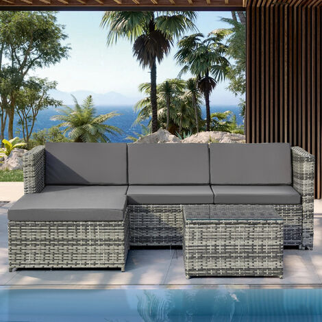 Garden Corner Sofa rattan Garden Furniture Patio Set Garden Entertaining Set Garden Rattan Furniture Lounge Set Grey