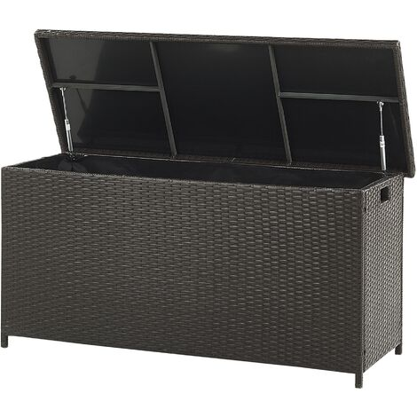 "main image of ""Garden Deck PE Rattan Storage Box Brown 126 x 46 cm Modena"""