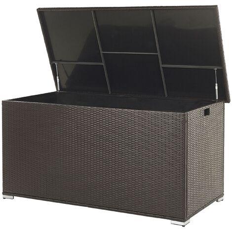 "main image of ""Garden Deck PE Rattan Storage Box Brown 155 x 75 cm Modena"""