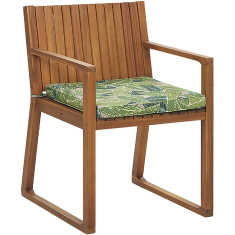 Garden Dining Chair with Cushion Leaf Pattern Green SASSARI